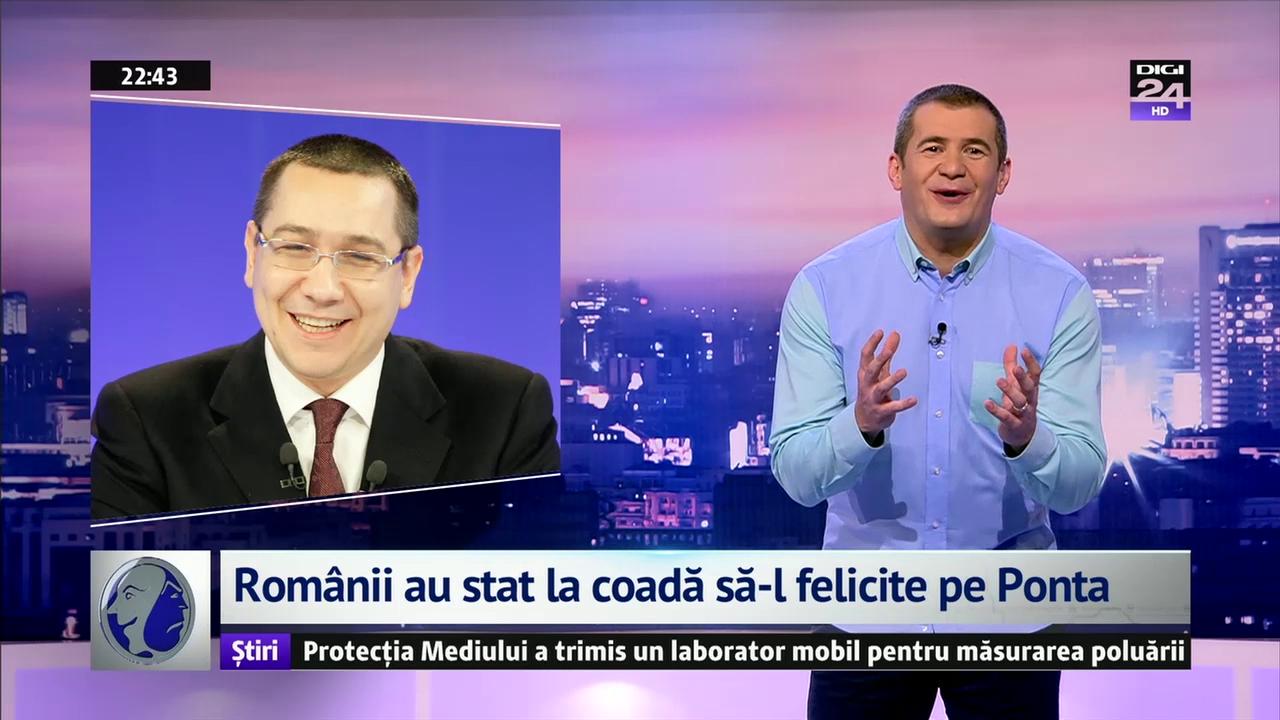 Românii au stat la coadă să-l felicite pe Ponta