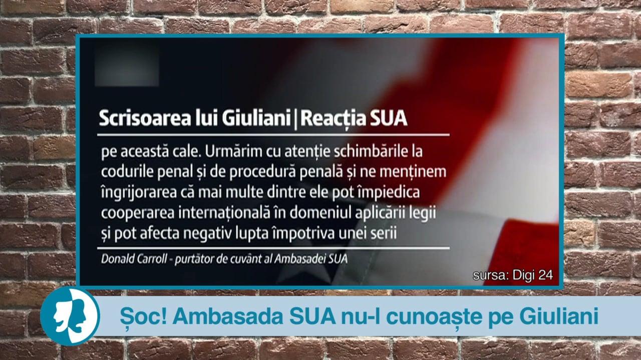 Șoc! Ambasada SUA nu-l cunoaște pe Giuliani